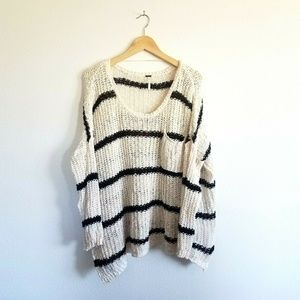 Free People Striped Sweater size Small Cream Black